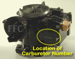 Picture of Y38-1(V) 2 barrel MerCarb marine carburetor with location of carburetor number