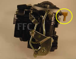 Picture of Y38-4A 2 barrel MerCarb marine carburetor with linkage bolted on shaft