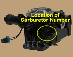 Picture of Y38-88 2 barrel MerCarb TKS marine carburetor with location of carburetor number