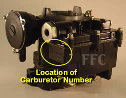 Picture of Y39-2B 2 barrel Rochester marine carburetor with location of carburetor number
