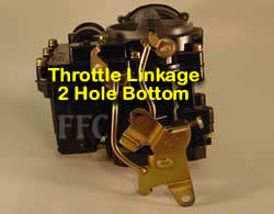 Picture of Y39-2B 2 barrel Rochester marine carburetor with throttle linkage 2 hole bottom