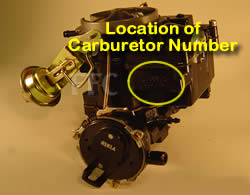 Picture of Y39-5AE 2 barrel Rochester 17086107 marine carburetor with location of carburetor number