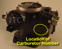 Picture of Y39-4A 2 barrel Rochester 7044185 or 7044187 marine carburetor with location of carburetor number