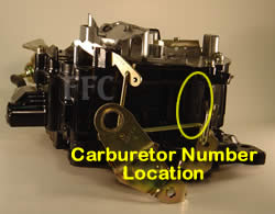Picture of Y40-2E Rochester Quadrajet marine carburetor with location of carburetor number