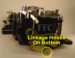 Picture of Y40-2E Rochester Quadrajet marine carburetor showing how throttle linkage hooks on bottom