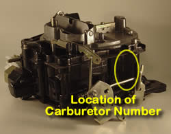 Picture of Y40-1E Rochester Quadrajet marine carburetor with location of carburetor number