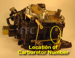 Picture of Volvo Penta Y40 Rochester Quadrajet marine carburetor with location of carburetor number