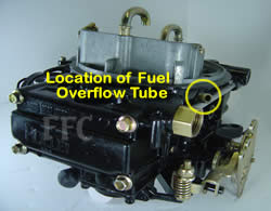Picture of Y41-1ST four barrel Holley Model 4160 marine carburetor with location of fuel overflow tube