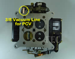 Picture of Y41-1ST four barrel Holley Model 4160 marine carburetor with 3/8 vacuum line for PCV
