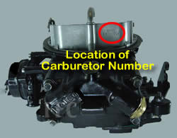 Picture of Y42-1CL two barrel Holley 2300 marine carburetor with location of carburetor number
