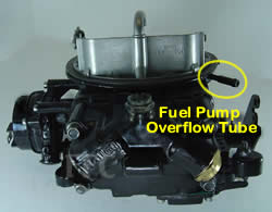 Picture of Y42-1CL two barrel Holley 2300 marine carburetor with location of fuel pump overflow tube - view 2