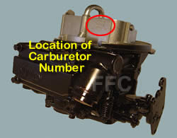 Picture of Y42-2F two barrel Holley 2300 marine carburetor with location of carburetor number