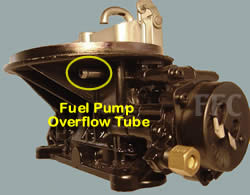 Picture of Y42-2F two barrel Holley 2300 marine carburetor with location of fuel pump overflow tube