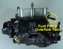 Picture of Y42-1CC two barrel Holley 2300 marine carburetor with location of fuel pump overflow tube - view 2
