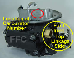 Picture of Y42-2ST two barrel Holley 2300 marine carburetor with location of fuel inlet and carburetor number