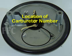 Picture of location of carburetor number on Volvo Penta Solex 44PA1