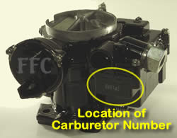 Picture of Y38-84 2 barrel MerCarb TKS marine carburetor with location of fuel pump overflow tube and carburetor number