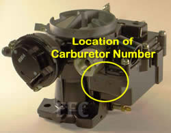 Picture of Y38-4(A) 2 barrel MerCarb marine carburetor with location of carburetor number