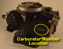 Picture of Y39-4 2 barrel Rochester 17057132 marine carburetor with location of carburetor number