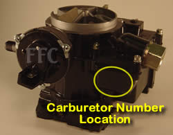 Picture of Y39 2 barrel Rochester marine carburetor with location of carburetor number