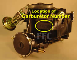 Picture of Y39 COB 2 barrel Rochester marine carburetor with location of carburetor number