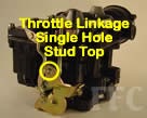 Picture of Y39 COT marine carburetor with with single hole and stud at top