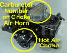 Picture of Y41-3 four barrel Holley Model 4175 650 CFM spread bore marine carburetor showing hot air choke and location of carburetor number