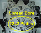 Picture of Y41-3 four barrel Holley Model 4175 650 CFM spread bore configuration and the #242 plates
