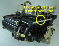 Picture of Y41 four barrel Holley Model 4160 marine carburetor with location of fuel overflow tube