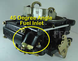 Picture of Y41 four barrel Holley Model 4160 marine carburetor with 45 degree angle fuel inlet