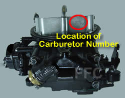 Picture of Y42 two barrel Holley 2300 marine carburetor with location of carburetor number