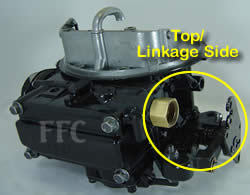 Picture of Y42 two barrel Holley 2300 marine carburetor showing fuel inlet on top same side as throttle linkage