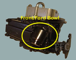 Picture of Y42 two barrel Holley 2300 marine carburetor showing fuel inlet for Ford in front by bowl