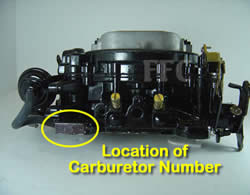 Picture of Y43 four barrel Weber/Carter AFB marine carburetor showing location of carburetor number