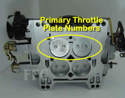Picture of Y43 four barrel Weber/Carter AFB marine carburetor showing location of primary throttle plate numbers