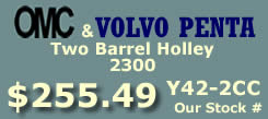 Y42-2CC two barrel Holley 2300 marine carburetor with electric choke for Omc and Volvo Penta 4 cylinder engines